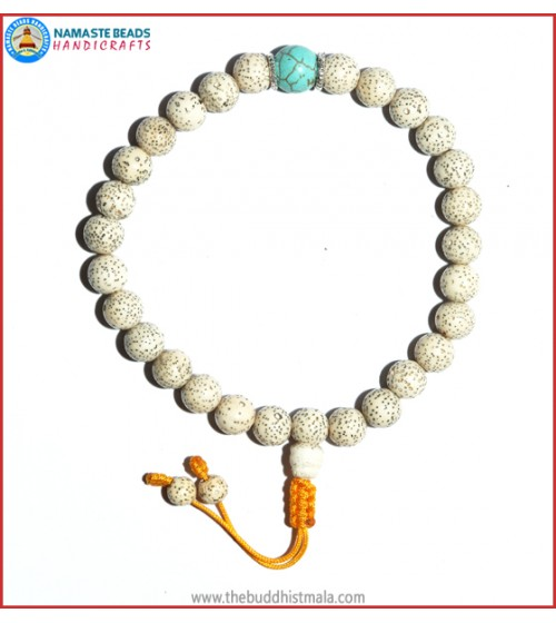 White Lotus Seed Wrist Mala with Turquoise Bead