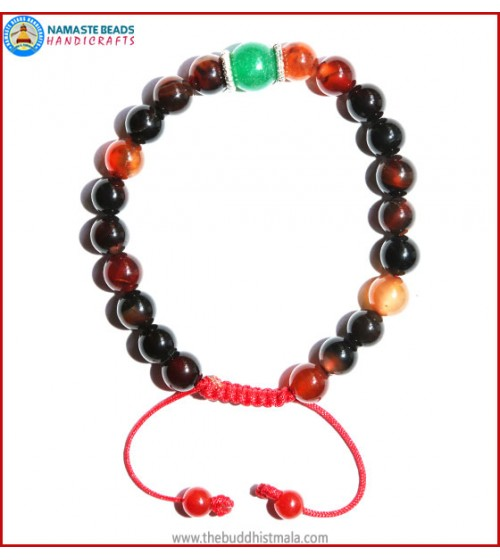 Mix Agate Stone Bracelet with Green Jade Bead