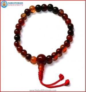Mix Agate Stone Wrist Mala with Carnelian Guru Bead