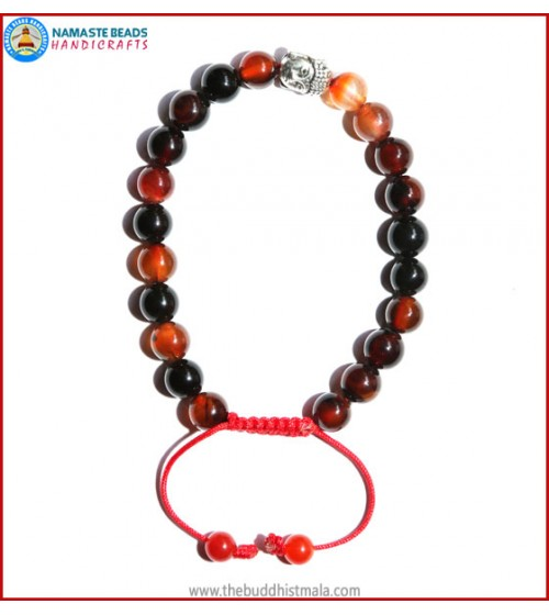 Mix Agate Stone Bracelet with Buddha Head Bead