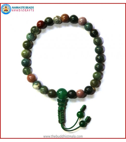 Mix Jasper Wrist Mala with Jade Guru Bead