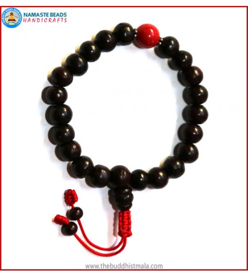 Rose Wood Wrist Mala with Coral Bead