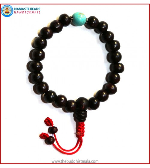 Rose Wood Wrist Mala with Turquoise Bead