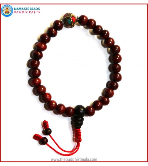 Rose Wood Wrist Mala with Metal Inlays Bead