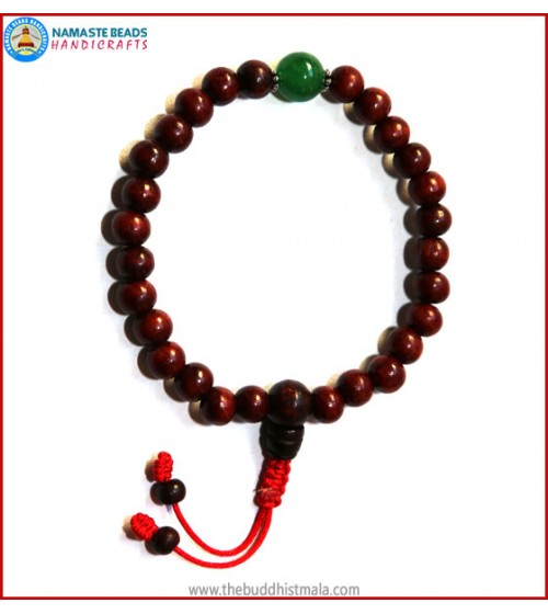 Rose Wood Wrist Mala with Jade Bead