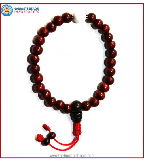 Rose Wood Wrist Mala with Conch Shell Bead