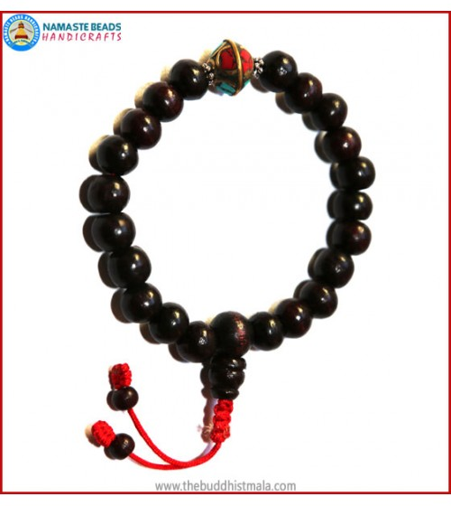 Rose Wood Wrist Mala with Metal Inlays Spacer Bead