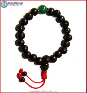 Rose Wood Wrist Mala with Jade Spacer Bead