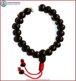 Rose Wood Wrist Mala with Conch Shell Spacer Bead