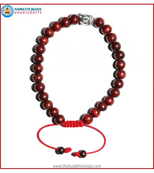 Rose Wood Bracelet with Buddha Head Bead