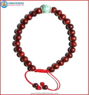 Rose Wood Bracelet with Turquoise Bead