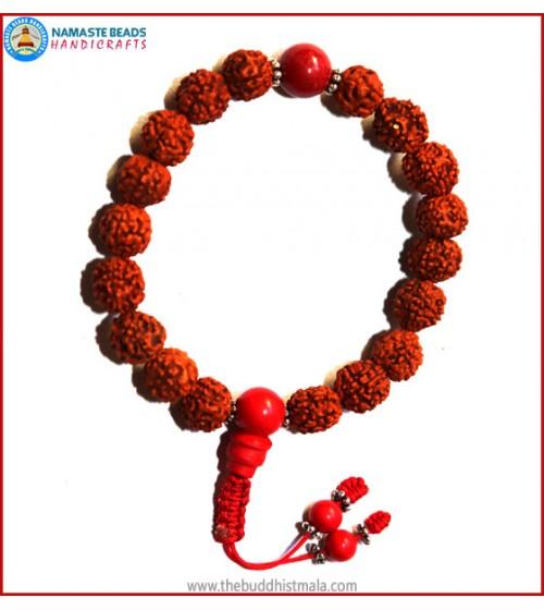 Rudraksha Seed Wrist Mala with Coral Bead