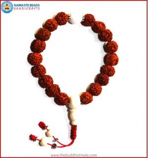 Rudraksha Seed Wrist Mala with Conch Shell Bead