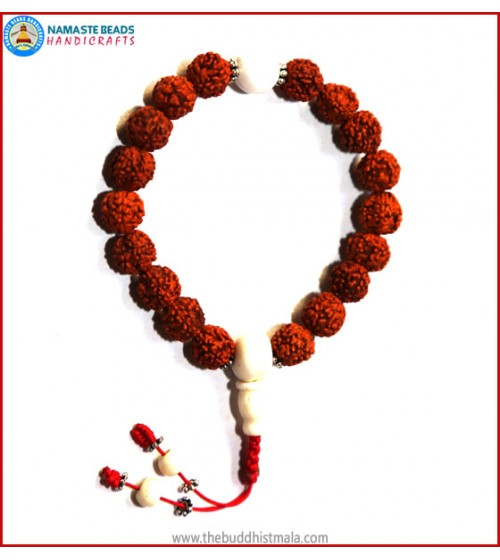 Rudraksha Seed Wrist Mala with Conch Shell Bead