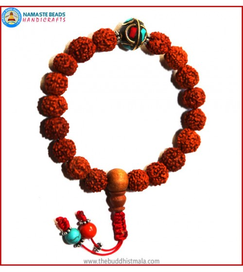 Rudraksha Seed Wrist Mala with Inlays Metal Bead