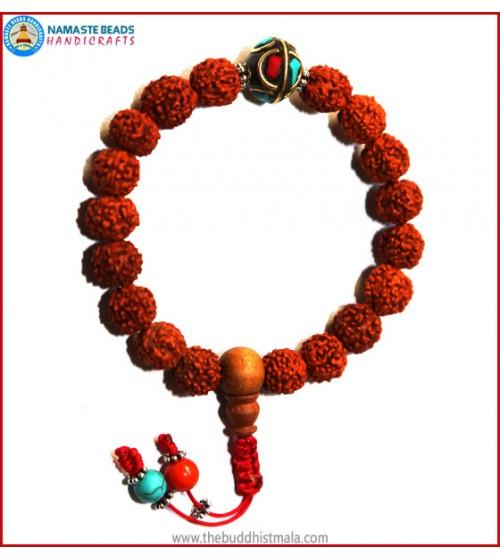 Rudraksha Seed Wrist Mala with Inlays Metal Bead