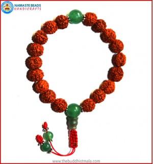 Rudraksha Seed Wrist Mala with Jade Bead