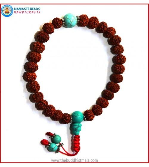 Rudraksha Seed Wrist Mala with Turquoise Bead