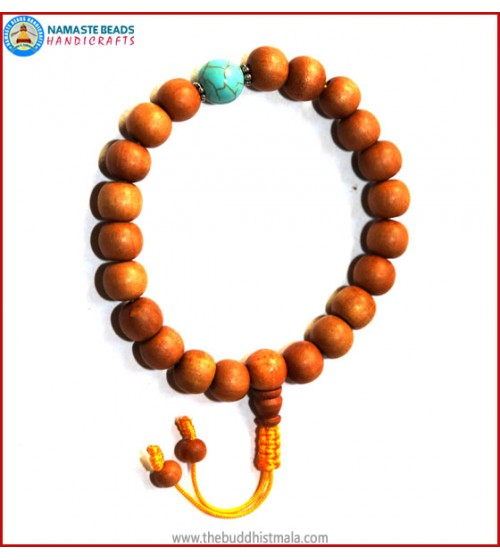 Sandal Wood Wrist Mala with Turquoise Bead