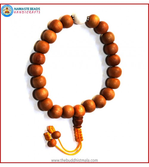 Sandal Wood Wrist Mala with Conch Shell Bead