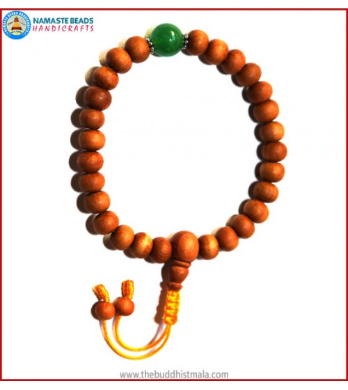 Sandal Wood Wrist Mala with Green Jade Bead