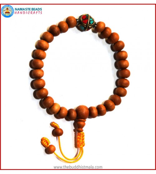 Sandal Wood Wrist Mala with Metal Inlays Bead
