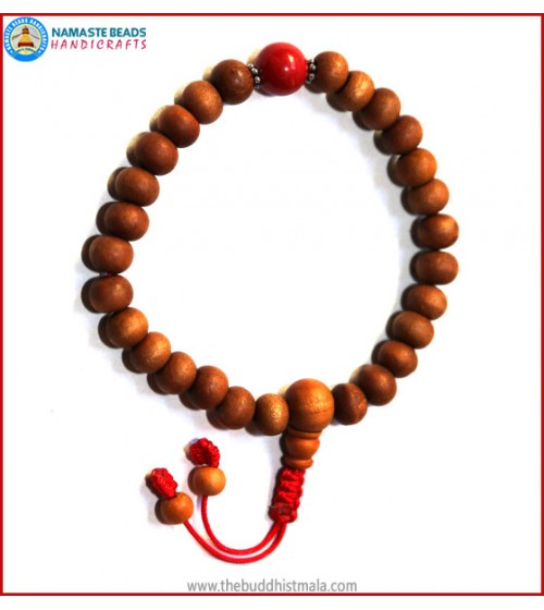 Sandal Wood Wrist Mala with Coral Bead