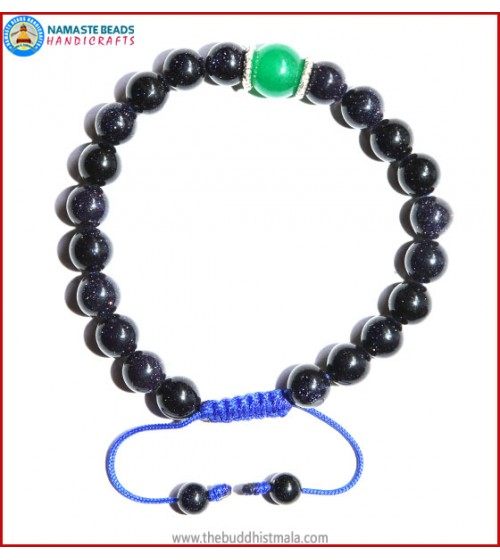 Blue Sun Stone Bracelet with Green Jade Bead