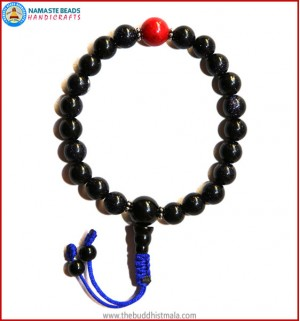 Blue Sun Stone Wrist Mala with Coral Bead