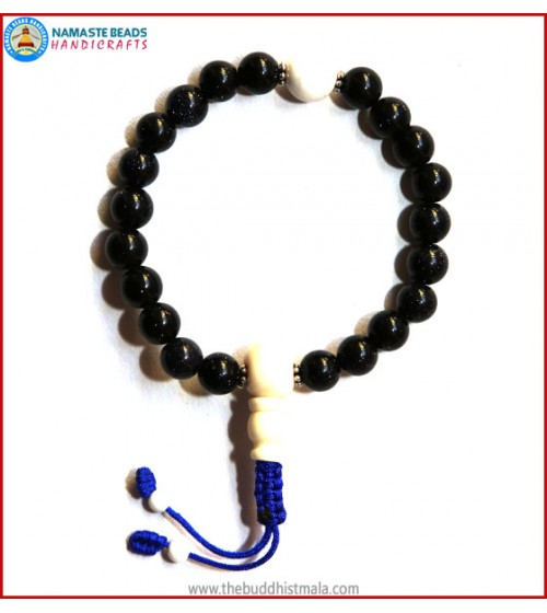 Blue Sun Stone Mala with White Bone Guru Bead