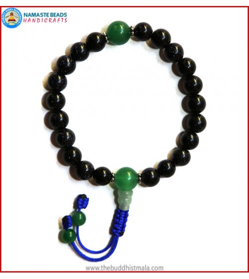 Blue Sun Stone Wrist Mala with Green Jade Bead