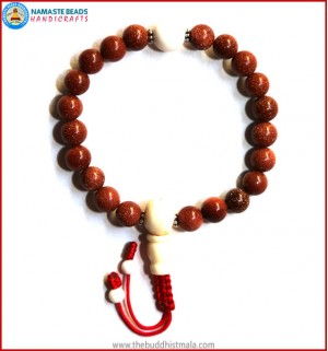 Sun Stone Wrist Mala with White Bone Guru Bead