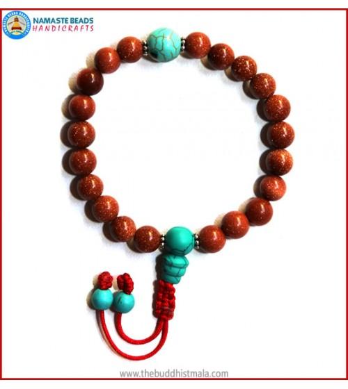 Sun Stone Wrist Mala with Turquoise Guru Bead