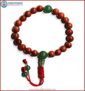 Sun Stone Wrist Mala with Green Jade Guru Bead