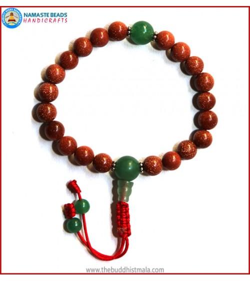 Sun Stone Wrist Mala with Green Jade Guru Bead