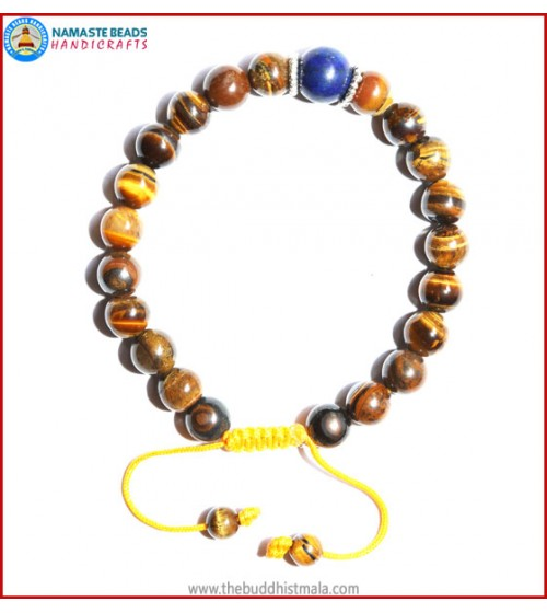 Tiger-Eye Stone Bracelet with Lapis Lazuli Bead