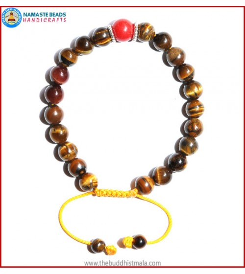 Tiger-Eye Stone Bracelet with Coral Bead