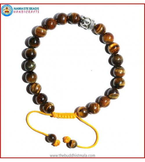 Tiger-Eye Stone Bracelet with Buddha Head