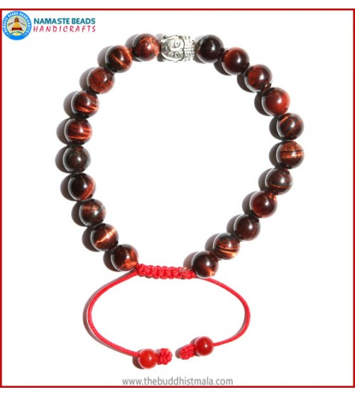 Red Tiger-Eye Stone Bracelet with Buddha Head