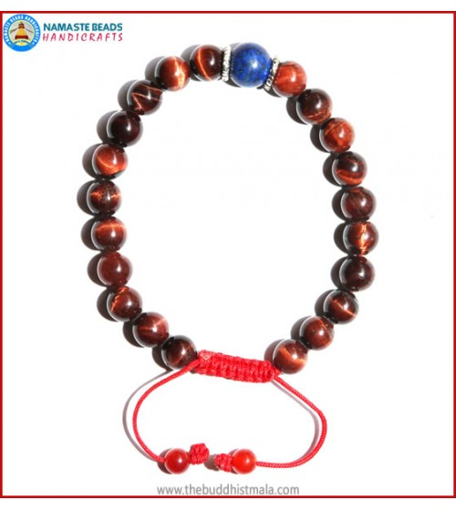 Red Tiger-Eye Stone Bracelet with Lapis Lazuli Bead
