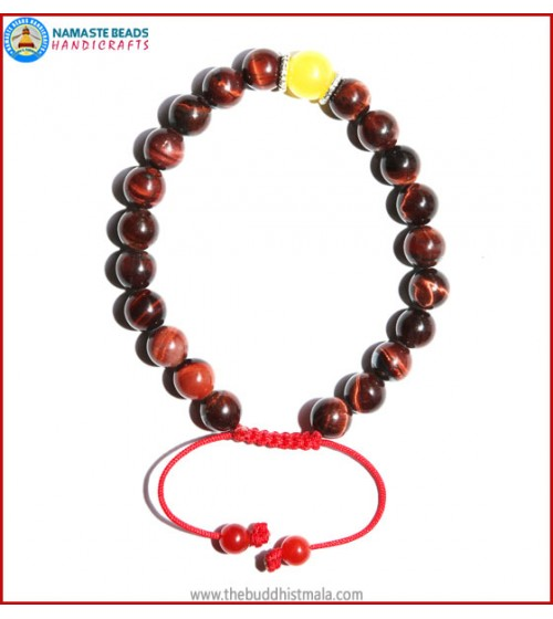 Red Tiger-Eye Stone Bracelet with Yellow Jade Bead