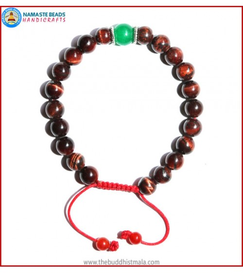 Tiger-Eye Stone Bracelet with Green Jade Bead
