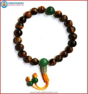 Tiger-Eye Wrist Mala with Green Jade Guru Bead