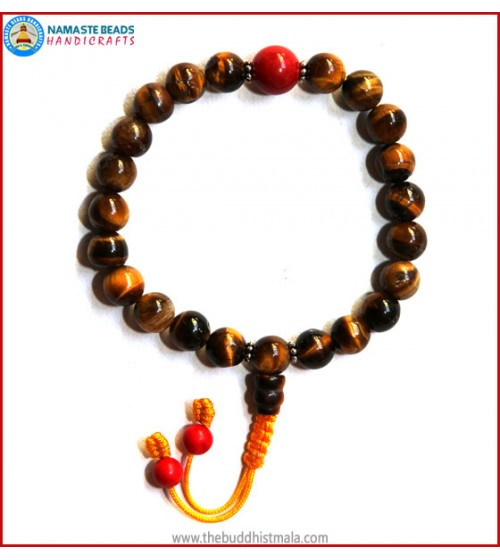 Tiger-Eye Wrist Mala with Coral Bead