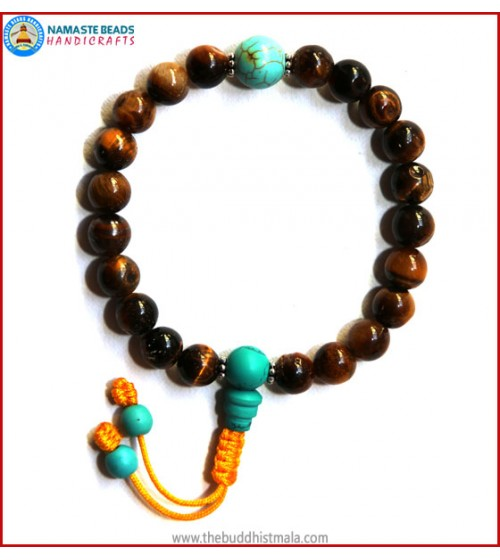 Tiger-Eye Stone Mala with Turquoise Guru Bead