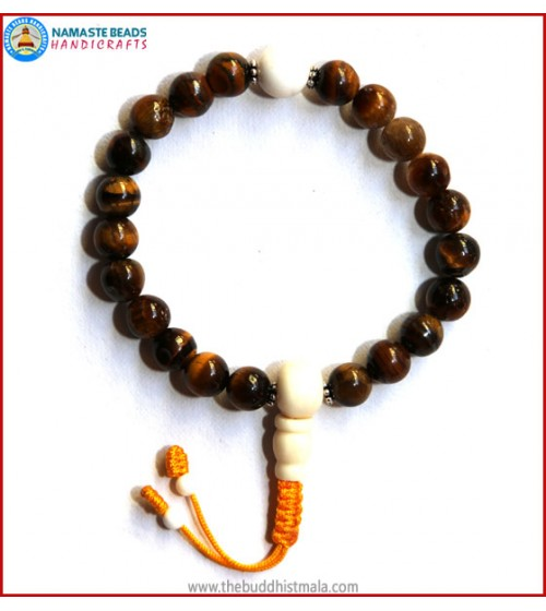 Tiger-Eye Stone Wrist Mala with White Bone Guru Bead