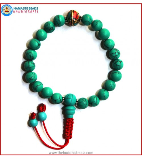 Reconstituted Turquoise Wrist Mala with Metal Inlays Bead