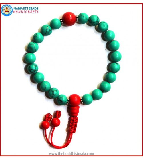 Reconstituted Turquoise Wrist Mala with Coral Guru Bead