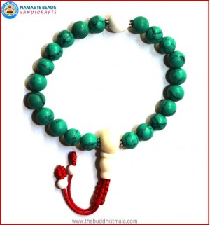 Reconstituted Turquoise Wrist Mala with White Bone Guru Bead