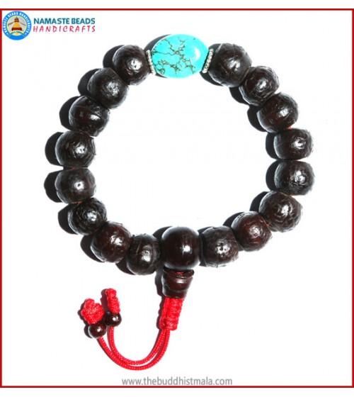 Dark Bodhi Seed Wrist Mala with Flat Turquoise Bead